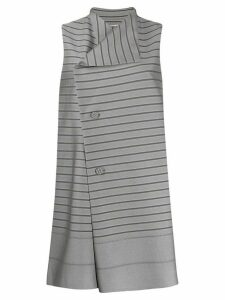 Issey Miyake striped long vest - Grey