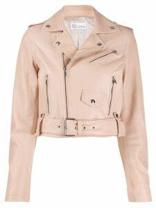 RedValentino cropped zip-up biker jacket - PINK