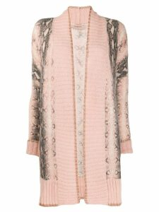Twin-Set open front intarsia cardigan - PINK