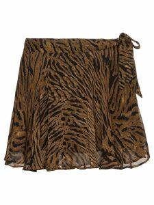 GANNI tiger print midi skirt - Brown