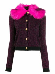 Versace faux fur trim cardigan - Black