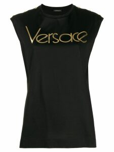 Versace logo sleeveless T-shirt - Black