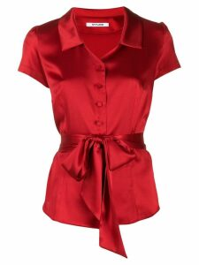 Styland tie waist satin shirt - Red