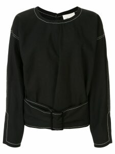 3.1 Phillip Lim Belted Denim Pullover Top - Black