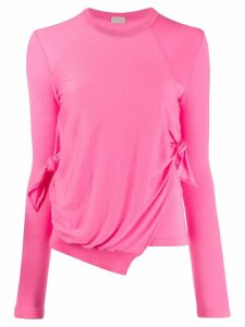 MRZ wrap-detail long sleeve top - PINK
