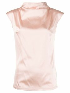 Styland high neck satin top - PINK