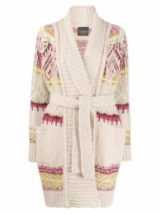 Roberto Collina patterned-knit belted cardigan - Neutrals