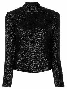 In The Mood For Love sequin roll neck top - Black