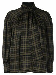 Proenza Schouler Plaid Chiffon Necktie Blouse - Green