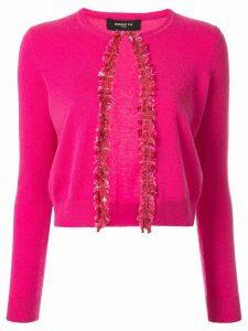 Paule Ka cropped fringed ac roppcardigan - Pink