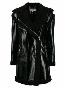 Michael Michael Kors shearling lining zip coat - Black