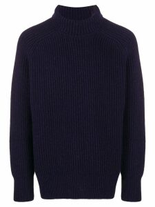 Ami Paris Rib Turtleneck Jumper - Blue