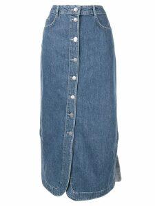 GANNI straight fit denim skirt - Blue