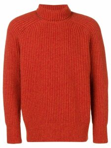 Ami Paris Rib Turtleneck Jumper - ORANGE