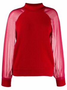 Federica Tosi sheer-sleeves mock neck jumper - Red