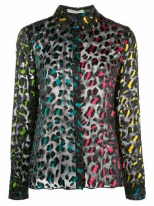 Alice+Olivia sheer leopard print shirt - Black