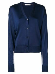 Victoria Beckham metallic thread v-neck cardigan - Blue