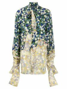 Rokh draped floral print shirt - Blue