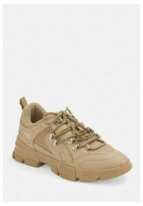 Nude Hiking Detail Lace Up Trainers, Nude