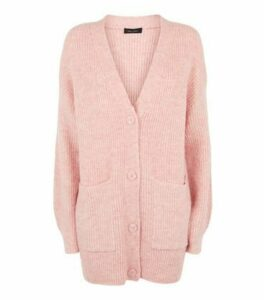 Pale Pink Long Sleeve Button Up Knitted Cardigan New Look