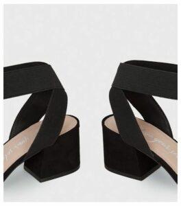 Wide Fit Black Low Block Heel Sandals New Look Vegan