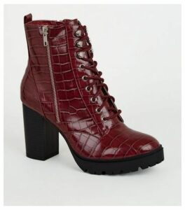 Dark Red Faux Croc Chunky Lace Up Boots New Look