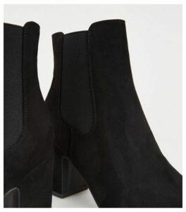 Black Suedette Block Heel Chelsea Boots New Look Vegan
