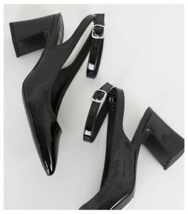 Wide Fit Black Patent Flared Heel Courts New Look