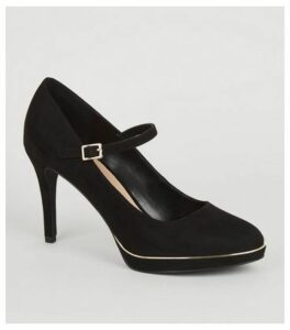 Black Suedette Piped Trim Mary Jane Courts New Look Vegan