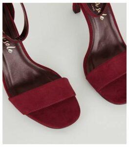 Dark Red Suedette Slim Heel Sandals New Look