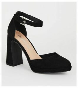 Black Suedette Flared Heel Platform Courts New Look