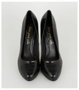Black Faux Croc Platform Court Shoes New Look