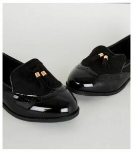 Extra Wide Fit Black Patent Tassel Loafers New Look