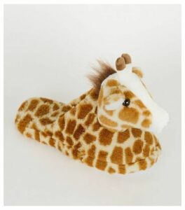 Brown Faux Fur Giraffe Slippers New Look