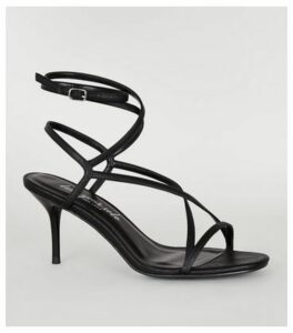 Black Leather-Look Strappy Mid Stiletto Heels New Look Vegan