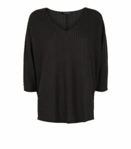 Black Brushed Rib Knit Batwing Jumper New Look