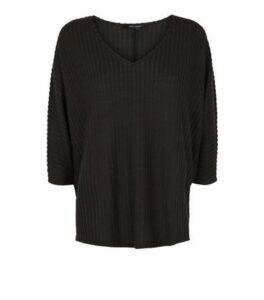 Black Brushed Rib Knit Batwing Jumper New Look