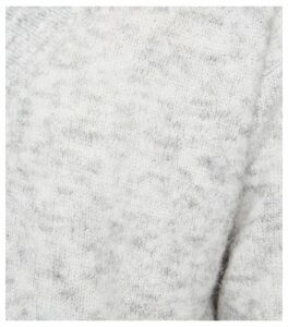 Pale Grey Knit V Neck Longline Jumper New Look