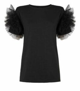 Black Mesh Ruffle Sleeve T-Shirt New Look