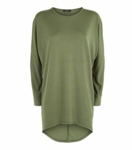 Khaki Dip Hem Long Sleeve Slouchy Top New Look