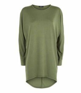 Khaki Dip Hem Long Sleeve Slouchy Top New Look