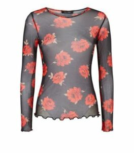 Black Mesh Rose Print Long Sleeve Top New Look