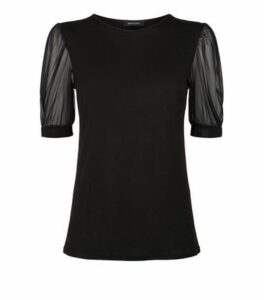 Black Mesh Puff Sleeve Jersey T-Shirt New Look