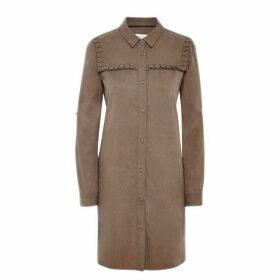 Jack Wills Swinburn Frill Shirt Dress - Olive