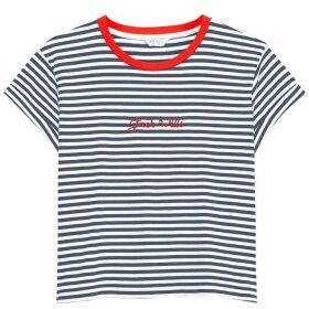 Jack Wills Milsom Cropped T Shirt - Navy/White