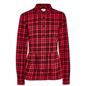 Jack Wills Highcliffe Check Peplum Shirt - Red