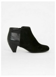 Wide Fit Black Snake Detail Shoe Boots, Black