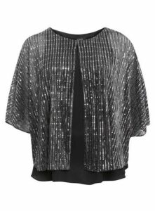 Black Sparkle Overlay Top, Grey