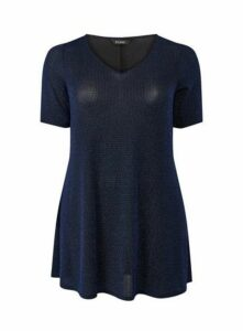 Blue Sparkle Tunic Top, Mid Blue