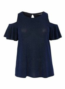 Navy Blue Sparkle Cold Shoulder Top, Mid Blue